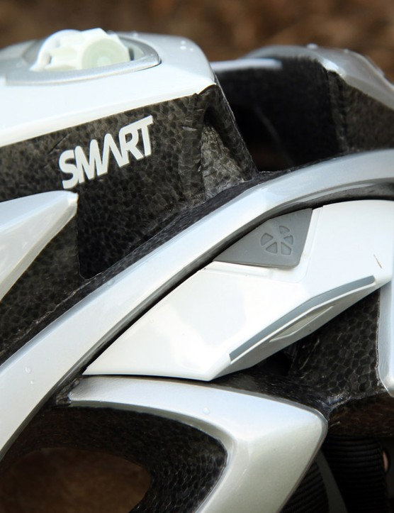 The wireless transmitter, signal processor and rechargeable battery are attached to the back of the helmet.