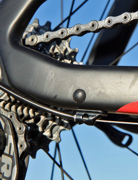 The rearmost derailleur housing stop is removable should you decide to use an electronic drivetrain