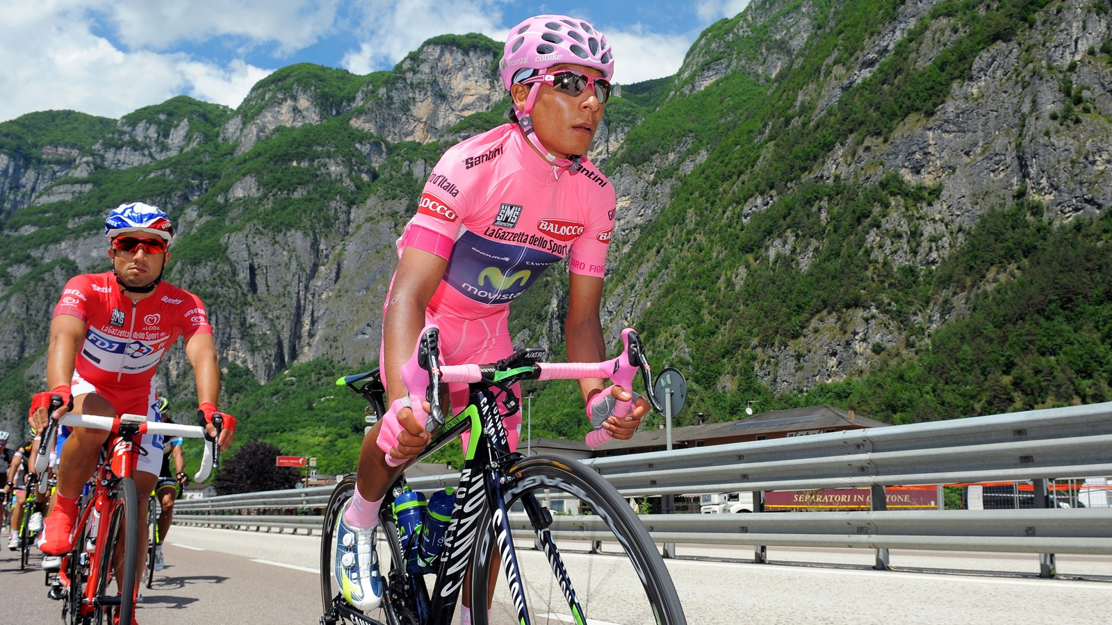 The Colombian Nairo Quintana moved into the leader's jersey with a mountain top win