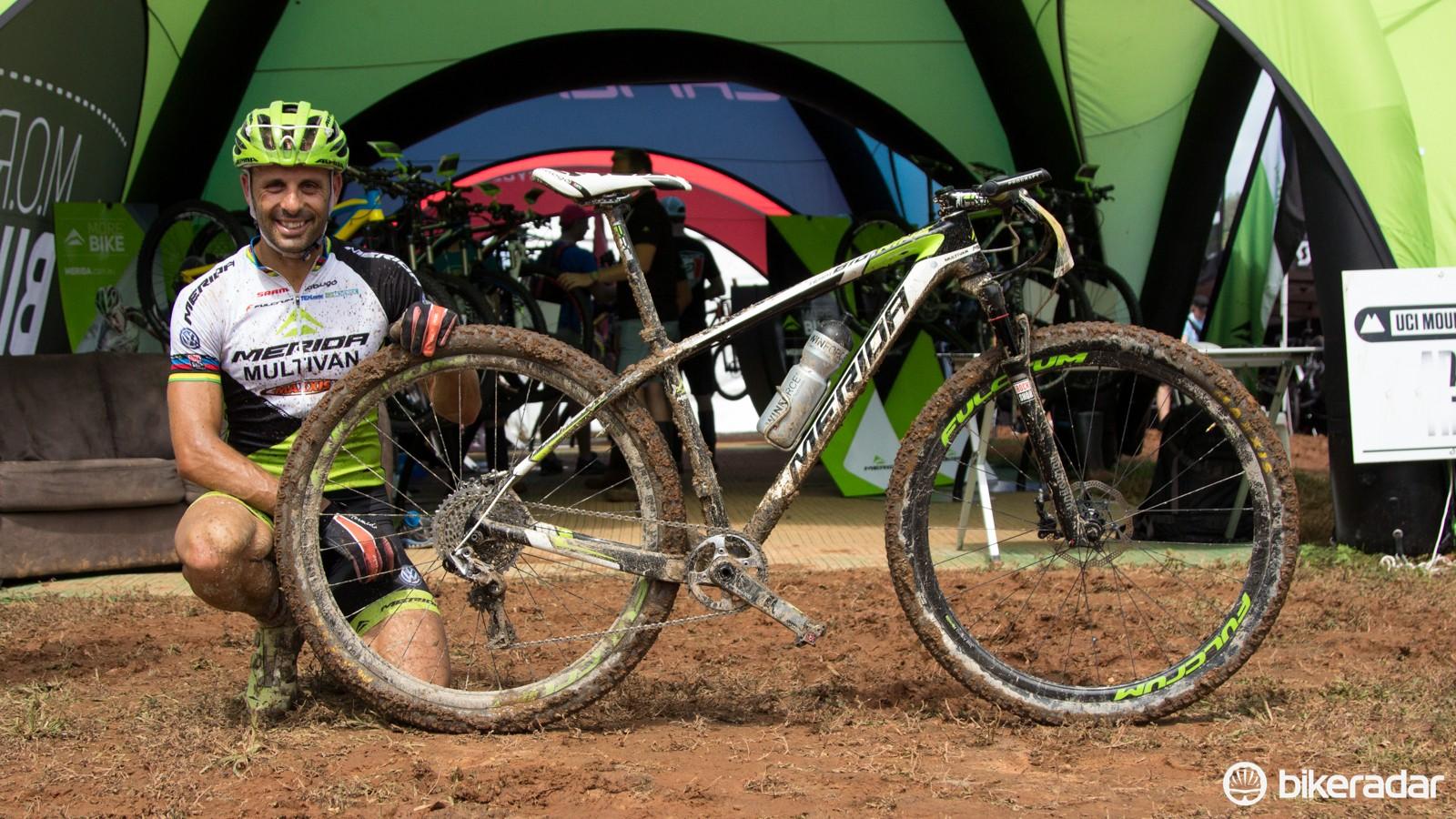 José Antonio Hermida and his 2014 Merida Big.Nine Multivan Merida team bike