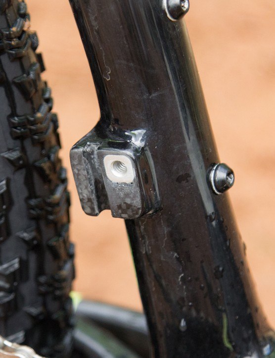 The direct-mount front derailleur mount goes unused with this SRAM XX1-equipped bike