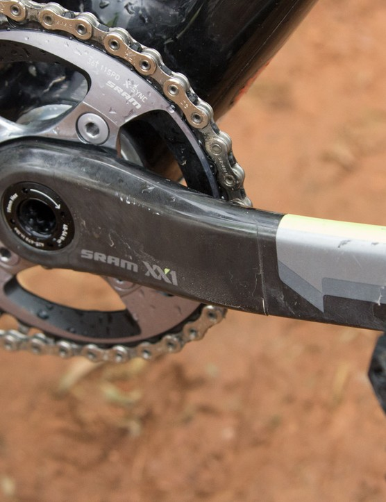 SRAM XX1 crank with a relatively large SRAM X-sync 36T chainring