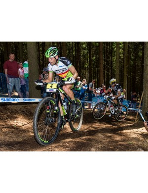 José Antonio Hermida at the World Cup round three in Nove Mesto, Czech Republic, riding the new upside-down RockShox RS-1 fork