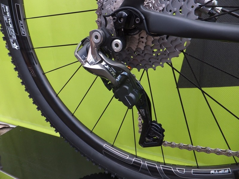 Shimano XTR Di2 rear derailleur's motor is around twice as powerful as the motors on Dura-Ace and Ultegra Di2, to give precise shifting in extreme conditions