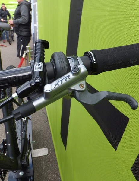 The new XTR brake lever has a matte finish and textured lever blade