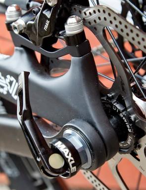 The Devinci Spartan uses post mount brake mounts