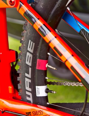 Schwalbe dual-chamber tires: The Cube team riders were running with the Schwalbe dual-chamber tire system and liked what they found. Team rider Scott Laughland reported being able to run 19psi in the front tire and 21psi rear for phenomenal grip and reduced puncture risk