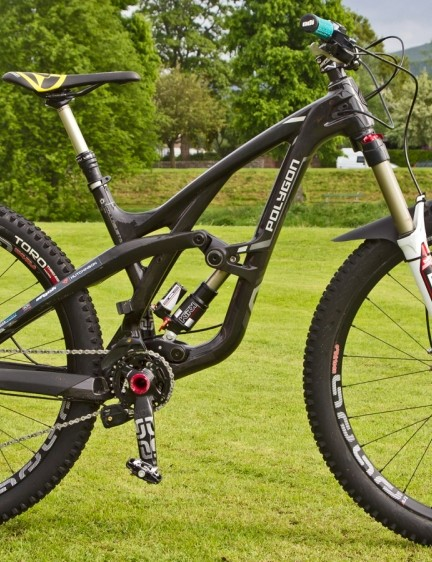 Polygon Collusus: Tracey Hannah opted for the new 140mm travel Polygon Collusus T8 rather than a 160mm travel version of the bike. The team riders opted for bigger volume Hutchinson tires to deal with the conditions
