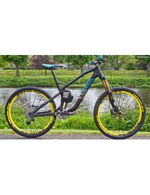 Canyon Strive CF: Canyon had its new Strive CF bike almost ready to roll. It features geometry developed by Fabien Barel and Canyon is building up the hype for what lies under the cover over the rear shock.  Launched on June 9, the company claims it's a big step forward for enduro technology