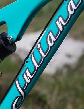 The Roubion comes in 'Evergreen' with matching green decals on the ENVE rims and RockShox fork
