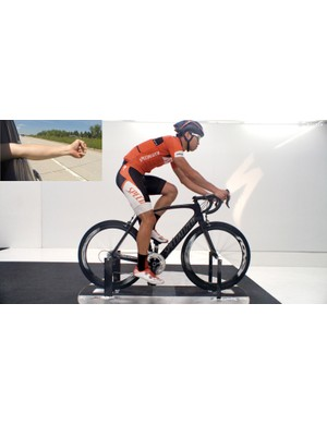 …then the drag reduction that comes from switching to an aero road bike, deep-section wheels, aero helmet, and tightly fitting clothing is about the same as closing your hand into a fist