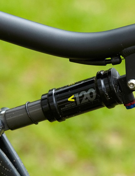 X-Fusion's basic-but-functional 02RL shock keeps the rear end tracking over the bumps