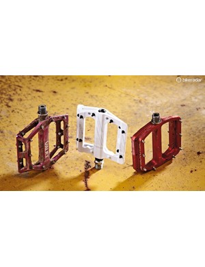 A selection of platform (flat) pedals from DMR, Nukeproof and Burgtec