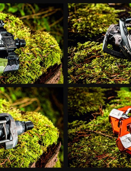 A selection of clipless (SPD-style) pedals from Crankbrothers, Shimano and Look