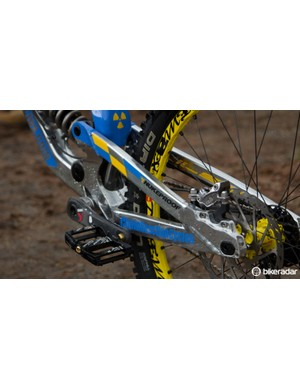 The Nukeproof Pulse has an adjustable chainstay length and a very burly-looking suspension layout