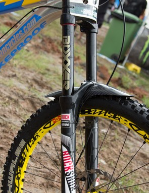 Sam Hill is riding on the new 2015 RockShox Boxxer fork, which features the new Charger damper, borrowing the sealed damper technology from the much-loved Pike fork