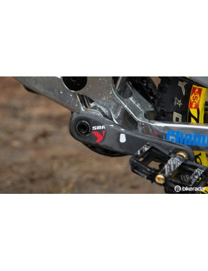 A scuffed up SRAM X0 carbon crank proves that Hill does plenty of pedalling