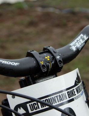 Sam Hill's Nukeproof signature handlebar is 38mm high and is cut to 740mm wide (the stock version is 760mm)