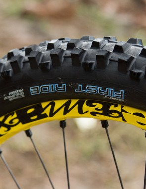 Schwalbe label its prototype rubber with the 'First Ride' moniker. This isn't a new tread pattern, but it's certainly a new rubber compound