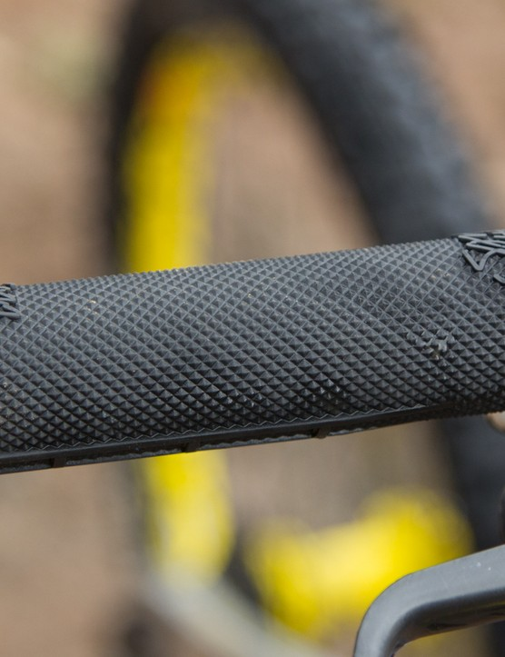Nukeproof Sam Hill Signature grips feature a half-waffle pattern and lock-on collars at both ends