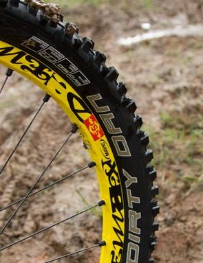 A tubeless Mavic Deemax Ultimate wheelset keeps Hill rolling