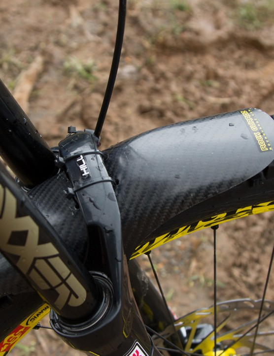 The mud at the Cairns World Cup round had Hill running this rather special looking MudGuardz CG325 Short mudguard