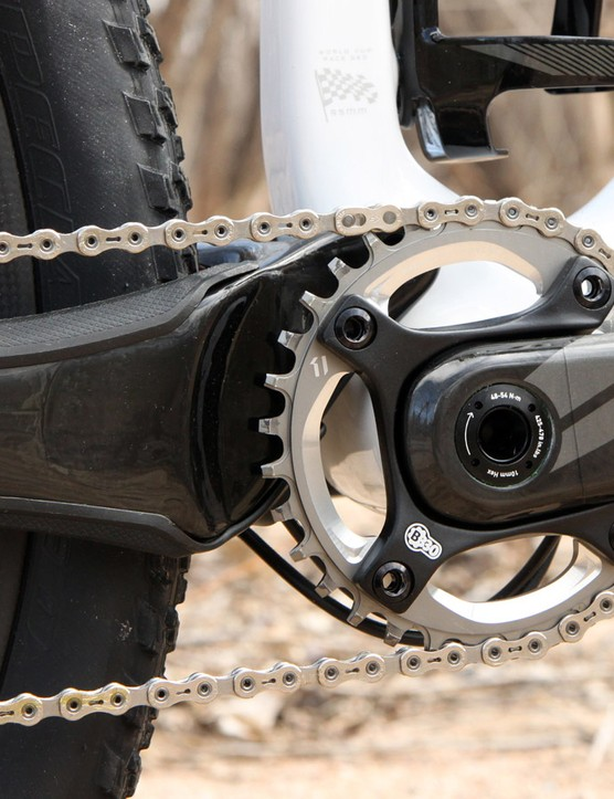 The massive carbon fiber chainstays make for a notably stout rear end. Don't bother trying to fit a front derailleur on to this bike, though, as it's 1x-only