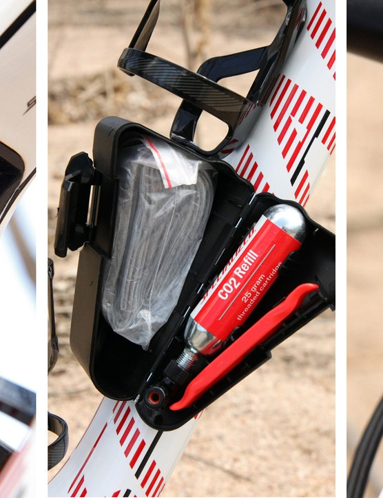Say goodbye to hydration packs and tool bags as Specialized's optional SWAT concept attaches all of the essentials to dedicated spots on the bike. A small multi-tool snaps into a port above the forward shock mount, there's a spare tube and CO2 inflator inside a plastic box on the main triangle, and there's even a chain tool (with a spare master link) hidden away inside the steerer tube. These bits don't come stock on the Epic Expert Carbon World Cup but now that we've used them, we're not sure we could do without them