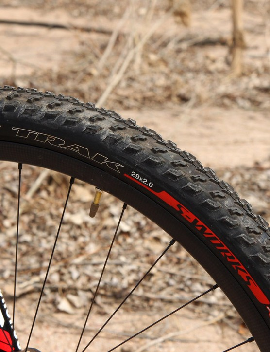 Specialized is smart for specifying a grippier and thinner S-Works Fast Trak front tire with a faster-rolling but more durable Renegade Control rear one. Our particular sample arrived with an S-Works Fast Trak tire out back, too, which we prompted center-punched on a rock just a few rides into testing