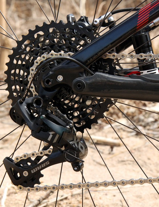 The SRAM X01 rear derailleur is slightly heavier than the top-end XX1 model but it's functionally identical