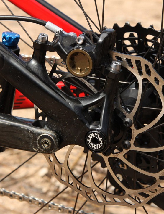 The rear brake bolts to post mounts that are sized for 160mm rotors. The rear thru-axle requires a tool to operate but conveniently, there's the option to attach a mini-tool right to the bike so you'll never be stranded trailside because you can't remove the wheel