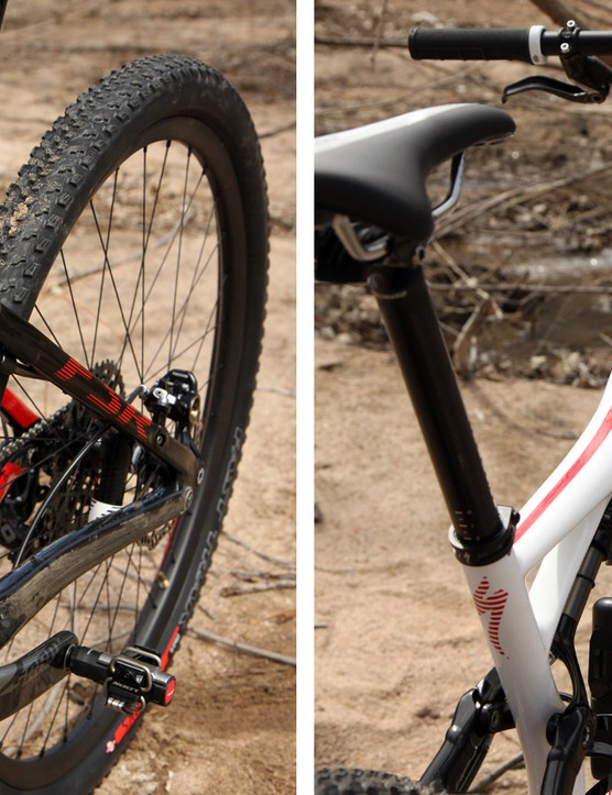 The carbon fiber front triangle is heavily shaped, including a highly asymmetrical seat tube and a broad top tube that wraps around the front of the shock