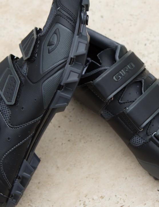 The Giro Carbide shoes feature a triple velcro strap closure