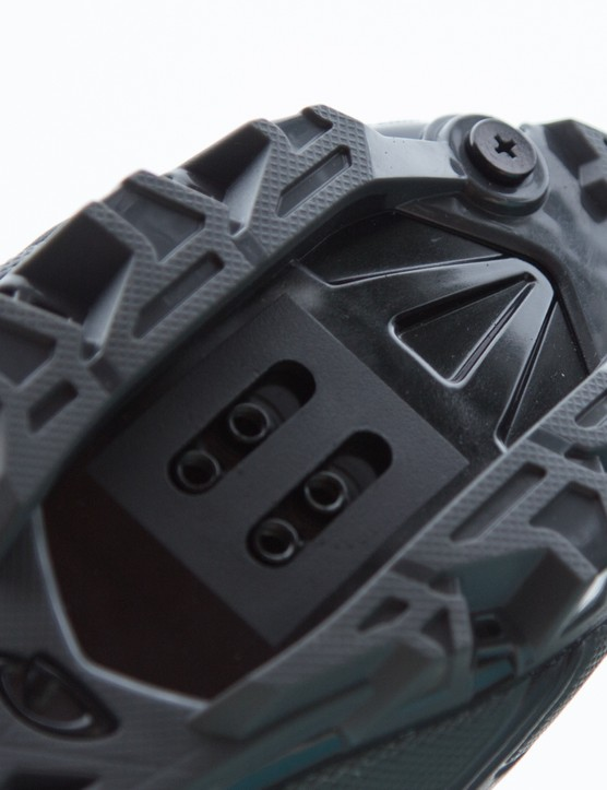 Two screws at the front allow for steel toe spikes to be mounted for further traction on steep run-ups