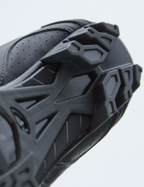The aggressive tread is a little too hard for amazing traction under foot. As a positive, it is extremely durable