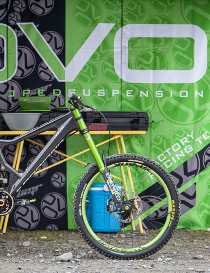 DVO suspension had driven this Land Rover all the way from Poland (the brand's European headquarters). They had a color coordinated Antidote DH bike to show off the mean and very green Emerald DH fork