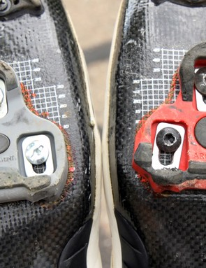 Unfortunately, the included Look KéO cleats (left) are still very problematic with a surprisingly sloppy fit on the pedal and inevitable creakiness, too. Switching to Exustar cleats (right) took care of both issues completely
