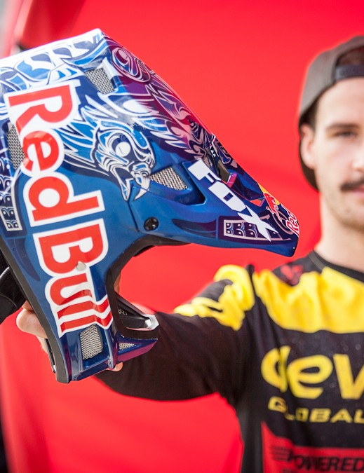 Smith is a born-and-bred Vancouver Islander, and his new Red Bull adorned Fox Rampage Pro Carbon helmet pays homage to his country's roots and indigenous peoples