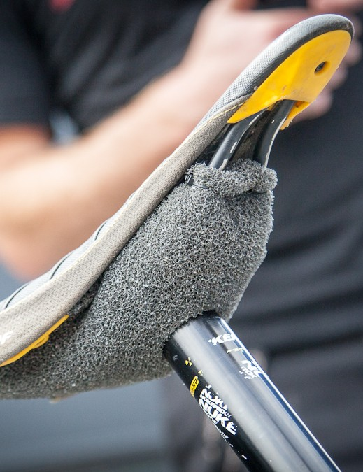 The area below the saddle always collects mud. A little moto-foam helps solve that problem