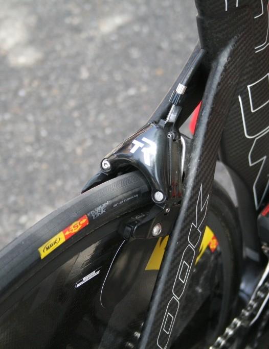 Cofidis is using TriRig Omega aero caliper brakes on the Look 596 TT bikes