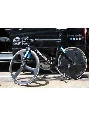 Pate's Pinarello Bolide languishes in the sun after his ride. His Criterium really starts Monday working for his leader, Chris Froome