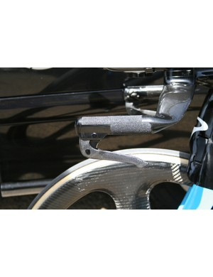 Neatly placed grip tape and custom brake levers of Pate's Bolide