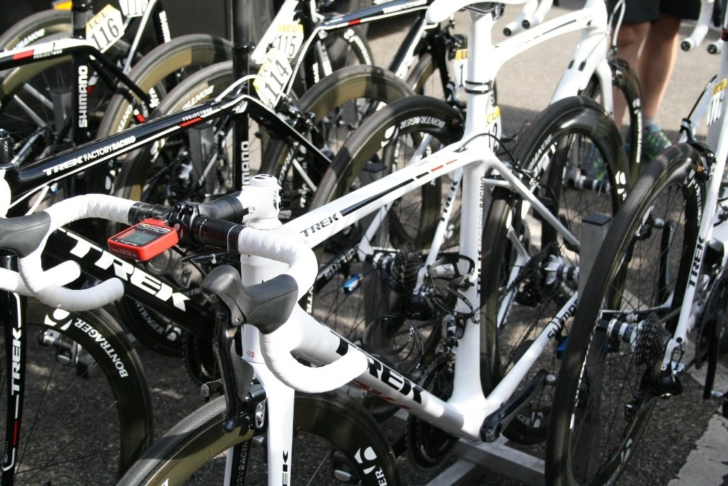Three Trek Factory Racing riders rode on this new, unnamed white Trek