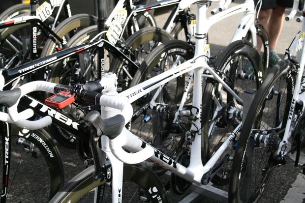 Three Trek Factory Racing riders rode on this new, unnamed white Trek
