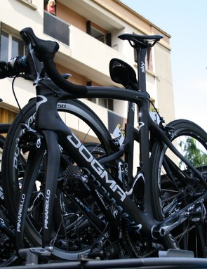 Chris Froome's (Team Sky) new road bike, the Pinarello Dogma F8 arrives in Tarare