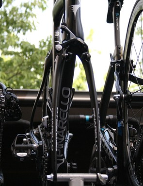 The distinctive fork of the new Pinarello Dogma F8, borrowed from the Bolide TT bike