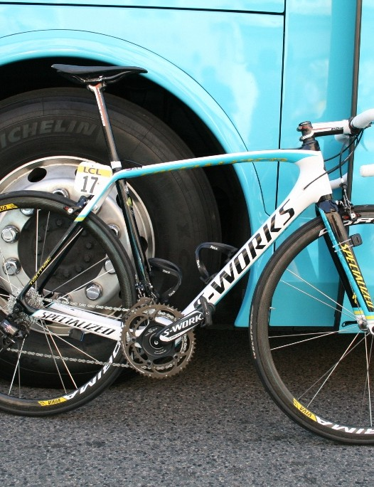 Lieuwe Westra's (Astana) new generation Specialized Tarmac. The bike was first unveiled at the hilly Classics and three Astana riders were on the bike today