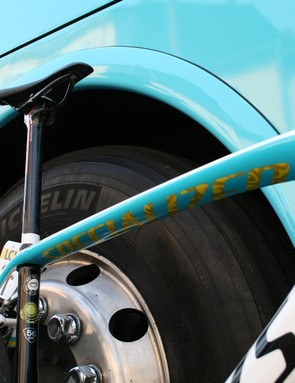 Great graphics on the underside of the top tube of the Tarmac