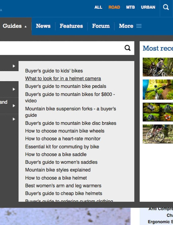 Under the 'Guides' tab, you can see our 'best of' product picks under Best Buys, get our tips for how to shop for any given product under Guides, or brush up your repair skills or nutrition and training knowledge under How To