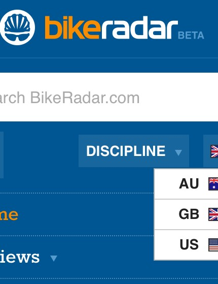 Access the region and discipline (road, MTB, urban) settings on mobile and tablet by clicking the three white bars to the left of the logo